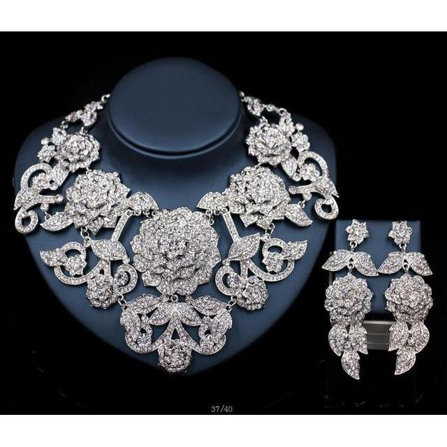 2017 New Bridal Jewelry Sets Gold Crystal Necklace and Earrings Set for Women Wedding Party African Beads Jewelry sets LF -G016