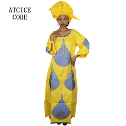 african dresses for women fashion design new african bazin embroidery design dress long dress with scarf two pcs one set