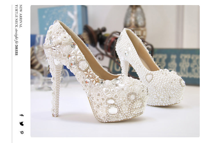 fe3cd09bc74f5 ... shoes women new wedding shoes pure white Pearl Diamond crystal shoes  waterproof single white bride wedding ...