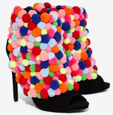 Unique Women Rainbow Pom Pom Ankle Booties Sexy Peep Toe High Heels Zipper Back Ladies Boots-001