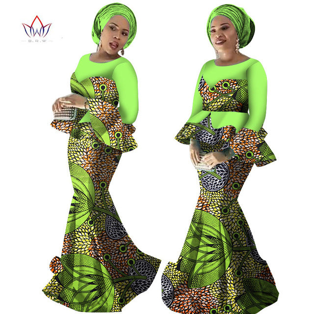 e6357fe3708 ... African Ankara Traditional Print Skirt and Blouse Sets Plus Size with  Free Head Scarf ...