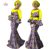 Skirt Set African Designed Traditional Print Clothing Plus Size Skirt Set Evening dress with Free Head Scarf  WY2251
