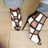High Quality White Grid Cutout Style Sandals Sexy Peep Toe Black Leather Strap High Heels Zipper Back Female Party Shoes-001