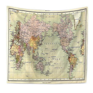 Bourina World Map Printed Tapestry Wall Hanging Modern Home - Cloth world map wall hanging