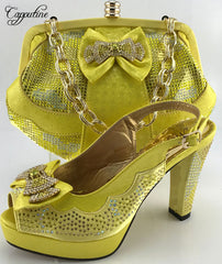 Capputine Yellow Color Hot Seling Woman Shoes And Bag Set African HIgh  Heels Shoes And Bag ... b508e9041aad