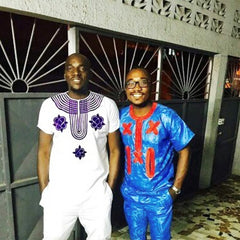 AFRICAN MEN SOFT MATERIAL CLOTHES WITH EMBROIDERY TOP WITH PANTS COLOR WHITE