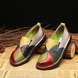 Trendy Women Casual Platform,Handmade Leather Soft Shoes National Leather Flats Shoes For Women Casual Female Flats Lady flower Round Toe Shoes footwear