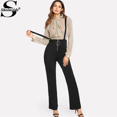 fb891cd9e5 Sheinside Black O-Ring Zip Front Overalls Jumpsuit 2018 Spring Straps  Sleeveless OL Work Long ...