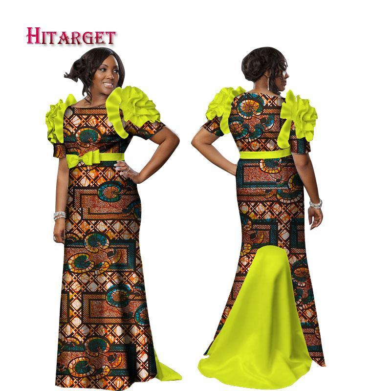 2017 New Bazin Riche African Dresses for Women Print Splice Butterfly Sleeve Long Dresses African Dashiki Women Clothing WY2335