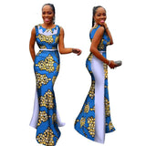 African Women Dresses for Woman Print Splice O Neck Mermaid Dresses Dashiki African Traditional Clothing-0W454