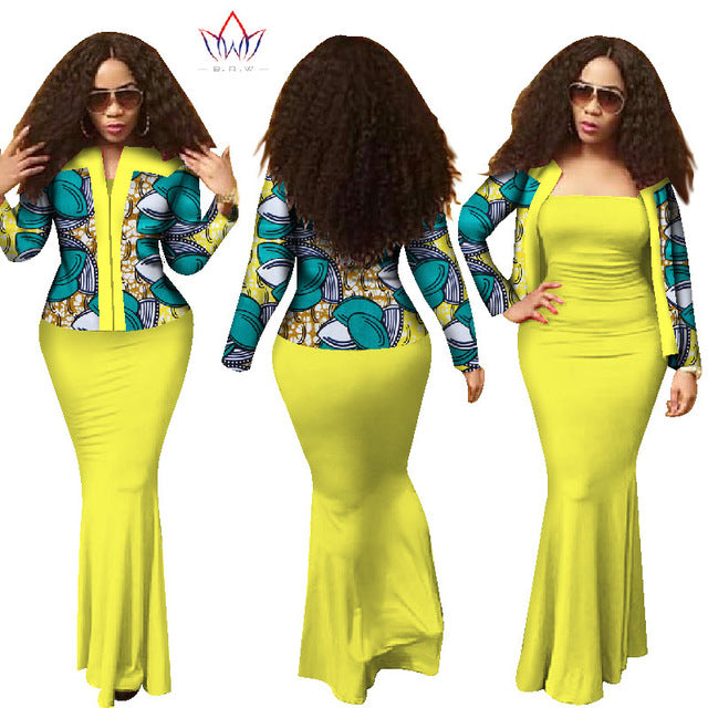 African Dresses For Women 2018 New Style Dashiki 2 Piece Dress Crop