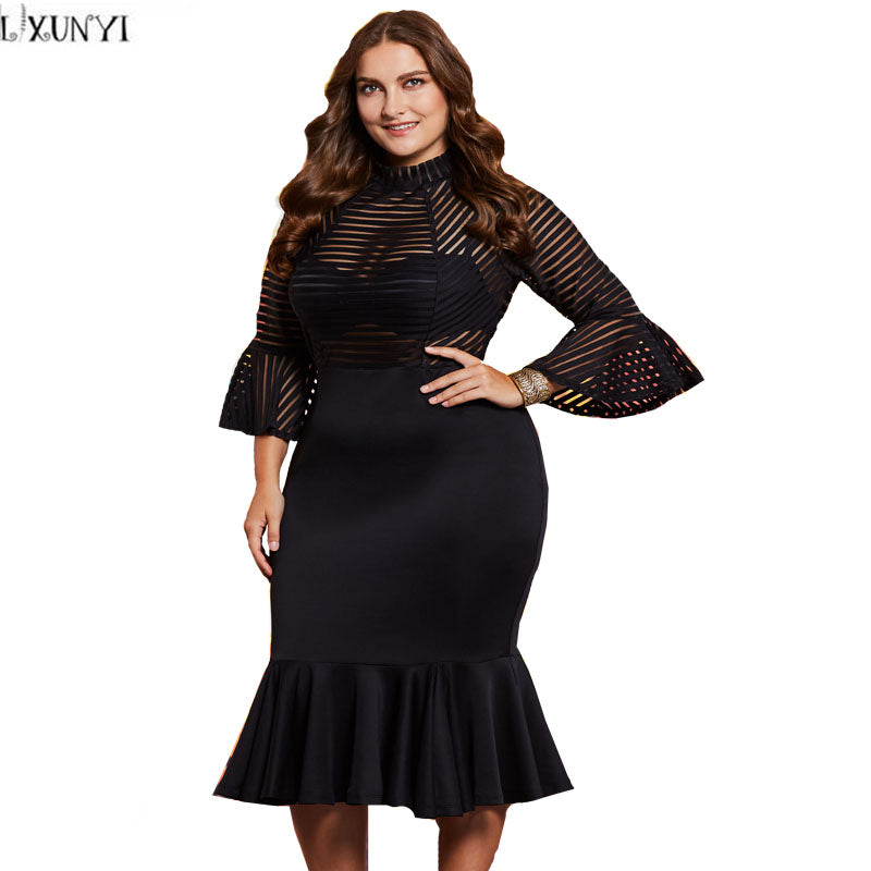 2018 Spring Woman Elegant Dress Plus Size Clothes Sexy Perspective