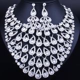 Design Luxurious Peacock Feather Bling Crystal Statement Necklace Earring for Women, Bridal Jewelry sets-0W-56