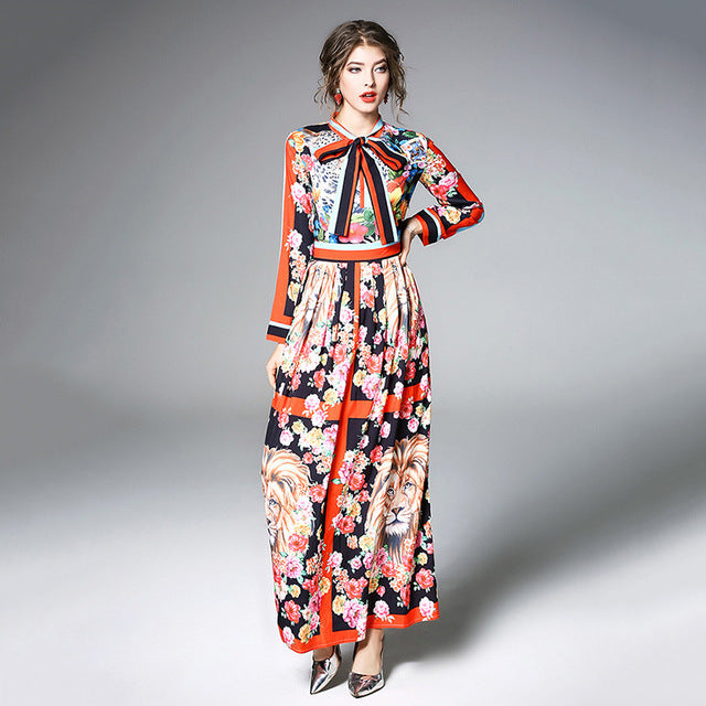 ... Runway Dresses 2018 Women High Quality Bow Neck Vintage Animal Print  Party Dresses Designer Long Maxi 10ac58c492e2