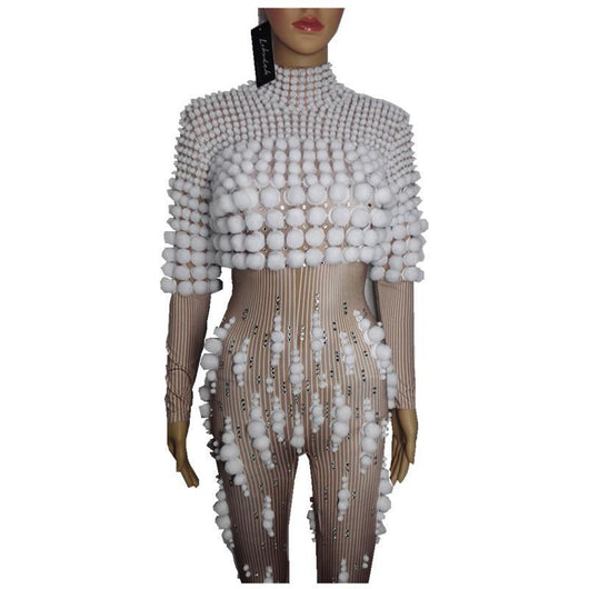 female costume crystals sexy Jumpsuit white ball outfit singer dancer nightclub Stag Party bar Prom star bar  performance show -0wm34