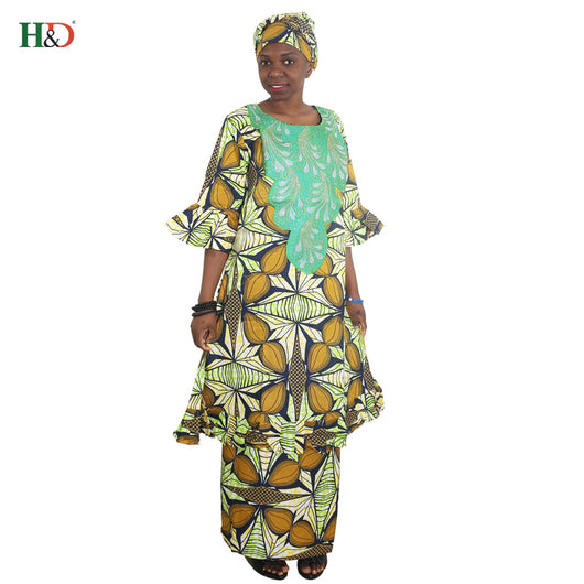 H&D 2018 african women dress new designer fashion africa outfiting dresses embroidery traditional bazin riche suit skirt sets