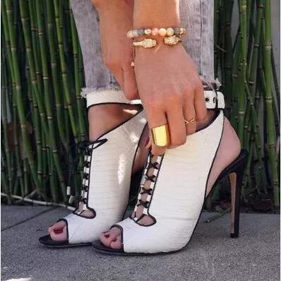 Women Black and White Peep Toe Cuts Out Gladiator Lace Up Thin Heels High  Heel Sandals ... 89dd7c9c350d