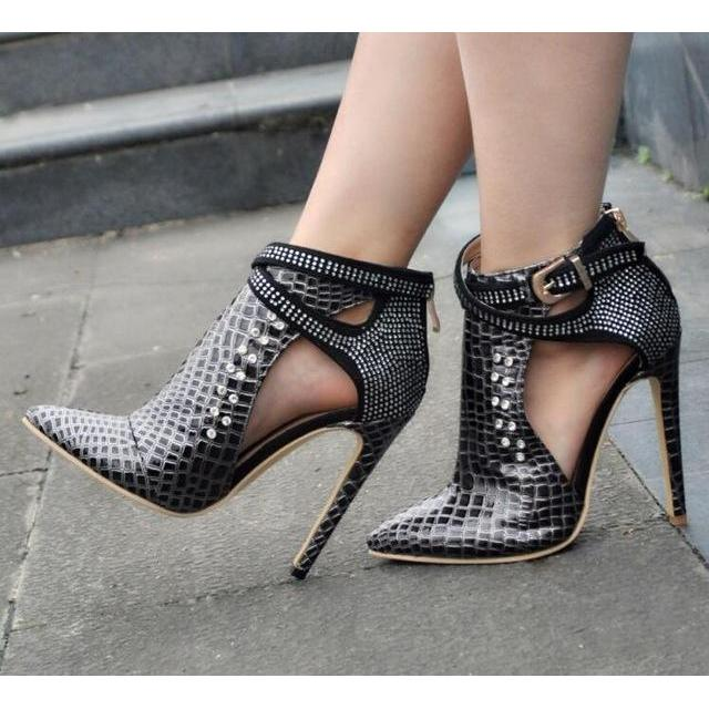 2017 Hottest Women Red/Black/Sliver Rhinestone Cuts Out Pointed Toe Thin Heels Pumps Plus Size 47 Shoes