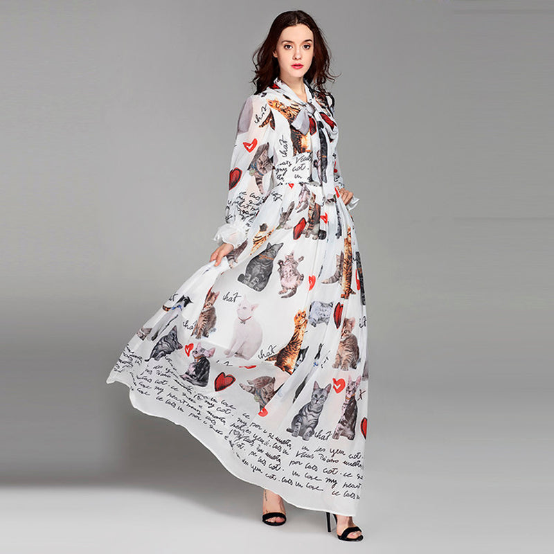 f47cf1f797b2 Europe Style 2018 Spring&Summer Newest Maxi Dress full Sleeve Cat And  Letter Print Eleant Floor-. Hover to zoom