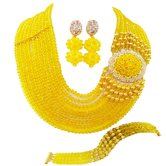 Best selling ! New Yellow Crystal Costume Nigerian African Wedding Beads Jewelry Necklaces Set -0W455