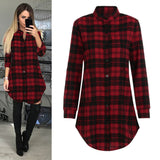 Womens Long Sleeve Plaid Lattice Black  Red Plaid Cotton Dress-890-0w