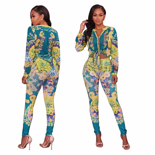 Long Sleeve V Neck Buttons Blouse Top Jumpsuit Fashion Women Flower Print Full Length Pant Skinny Rompers, 2 Piece Set 0wz11