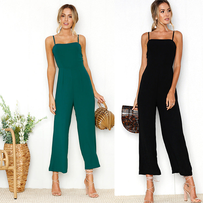 d994b514435 New 2018 Summer Wide Leg Jumpsuit Women Sexy Spaghetti Strap Square Neck  Slim Waist Rompers Casual ...
