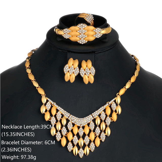 Tassel Jewelry Sets For Women African Beads Jewelry Set Wedding Bridal Imitation Crystal Gold Color Valentines Day Gift