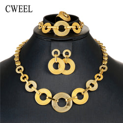 CWEEL Dubai Gold Jewelry Sets for Women Jewellery Necklace Bridal Wedding African Beads Jewelry Set Valentines Day Gift