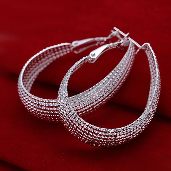 2017 New Fashion Jewelry Silver U Web Hoop Earrings For Women Gift -Freeowame