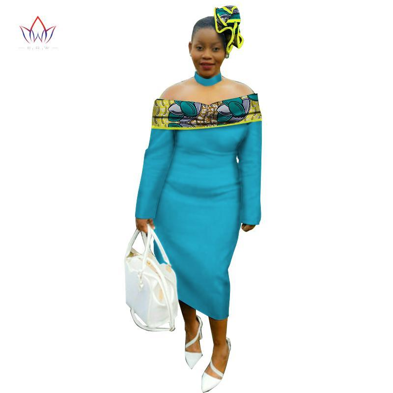 2017 Autumn dress traditional maxi dress African print Dashiki for women femme vestidos Mid-calf dress plus size natural WY2065