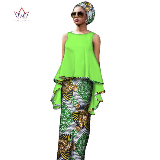 Women African Clothes for Women Summer Two Piece Sets Cotton Plus Size Dashiki O-neck 7xl Top Straight Skirts Dress-OWY459