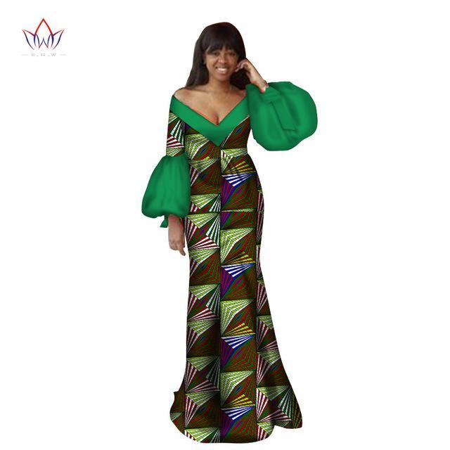 2017 Autumn traditional african clothing dashiki  floor-length african v-neck dresses for women full sleeve none 6xl BRW WY2368