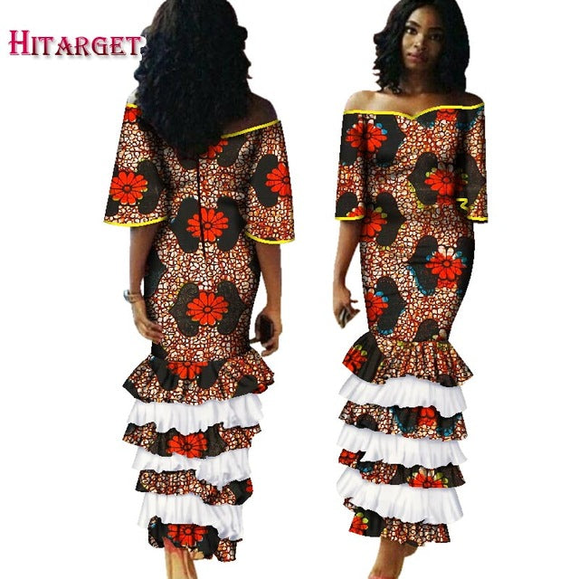 12c4c5531e ... Long Dresses Dashiki Traditional African Print Women Bazin Dresses.  Hover to zoom