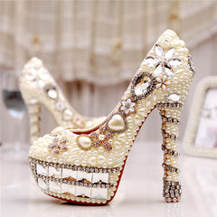 4ececfd6ee6f Woman Platform Wedges White Ivory Pearl Crystal Rhinestone Wedding Bridal  Shoes High Heels Pumps-0wSm12 ...