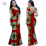 2018 Summer Dress for Women Dashiki Elegant Floor Dresses for Lady Bazin Riche V-neck Party Dress African Clothing WY1090