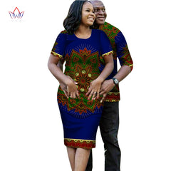 2018 summer Couple Matching Factory casual Clothes Set for Family African  dashiki Print Fabric Tshirts and ... f23e7a94014e