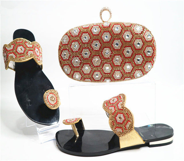 d26e4ed9cc4100 ... Capputine New African Rhinestone Woman Shoes And Purse Set African  Style Low Heels Shoes And Bag ...