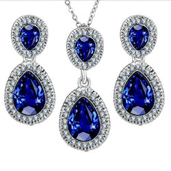 2018 Fashion Blue Crystal Water Drop Jewelry Set Necklace set African Beads Charms Maxi Earrings Statement Wedding Jewelry Set