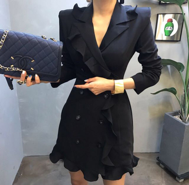 877717f549a Brief Women Blazer Dress Spring Autumn Double Bbreasted Buttons ...