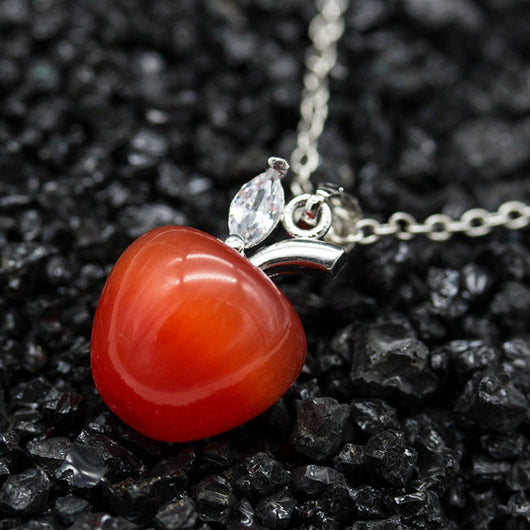 Women Fashion Opal Red Apple Shape Charm Pendant for Necklace Earring Decor