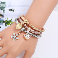 LZHLQ Brand Fashion Butterfly Pendant Bracelet Trendy Multilayer Metal Colorful Crown Rhinestone Cuff Bracelet For Women Jewelry