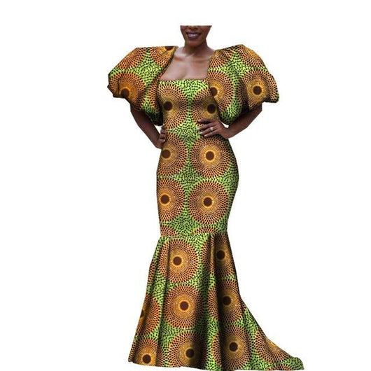 African Attire dress for women Mermaid Evening Wedding Party Dress short puff sleeve floor length strapless women dress