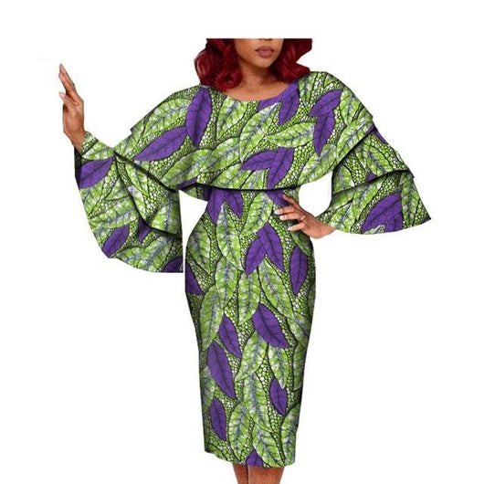 African Women's Clothing,African Ankara flare sleeve ruffled collar knee-length casual women dress, African Dress, Pink Dress, Midi Dress, African Clothing, Robe Wax, Print Dress  100% cotton