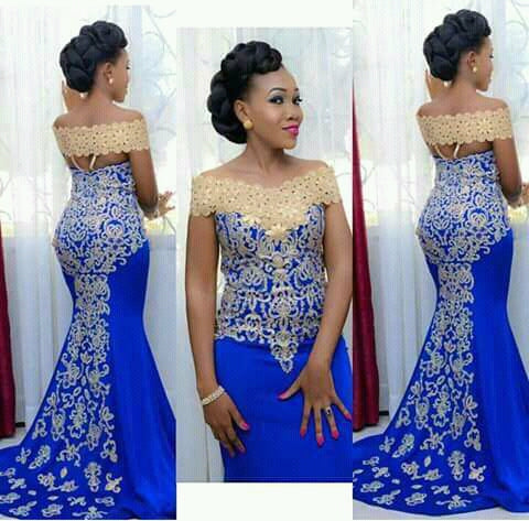 Elegant Long Evening Dress, Prom Mermaid Off Shoulder Gown with Gold Embroidery Floor Length African Women Blue Formal Prom Evening Gowns