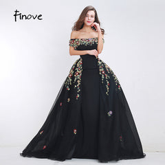 Finove Beading Prom Dresses 2018 New Styles Sexy Boat Neck A-Line  Detachable Skirt Floor ... b1c0e7f6f4b0