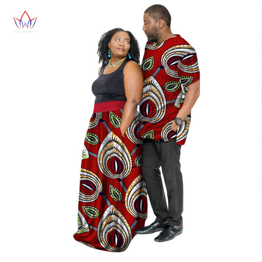 New Fashion African Couple Clothing Summer Dashiki Women Skirt & Men shirt for Lovers Casual loose Traditional Clothing WYQ46