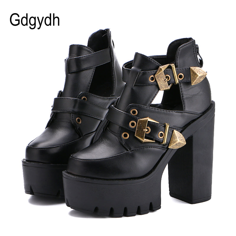 Gdgydh 2018 Spring Autumn Women Pumps Round Toe Platform Thick High Heels  Women Shoes Casual Cut ... 11e815180c5