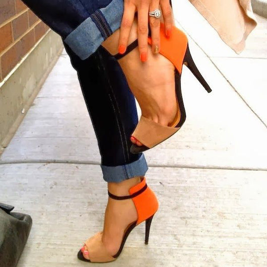 Women Mixed Colors High Heel Sandals Summer Orange Women Crystal Pumps Shoes -D1141