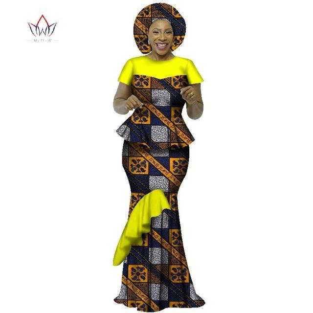 2018 african dresses for women traditional natural set ruffles 2 pieces plus size regular clothing wedding cotton dress WY2432